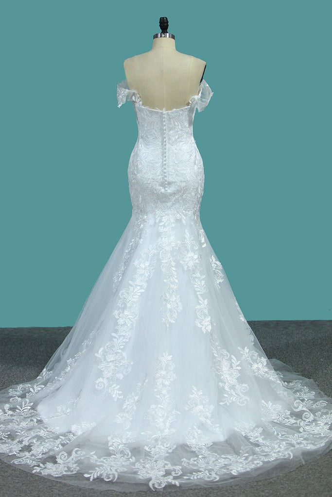 Mermaid Off The Shoulder With Applique Court Train Wedding Dresses