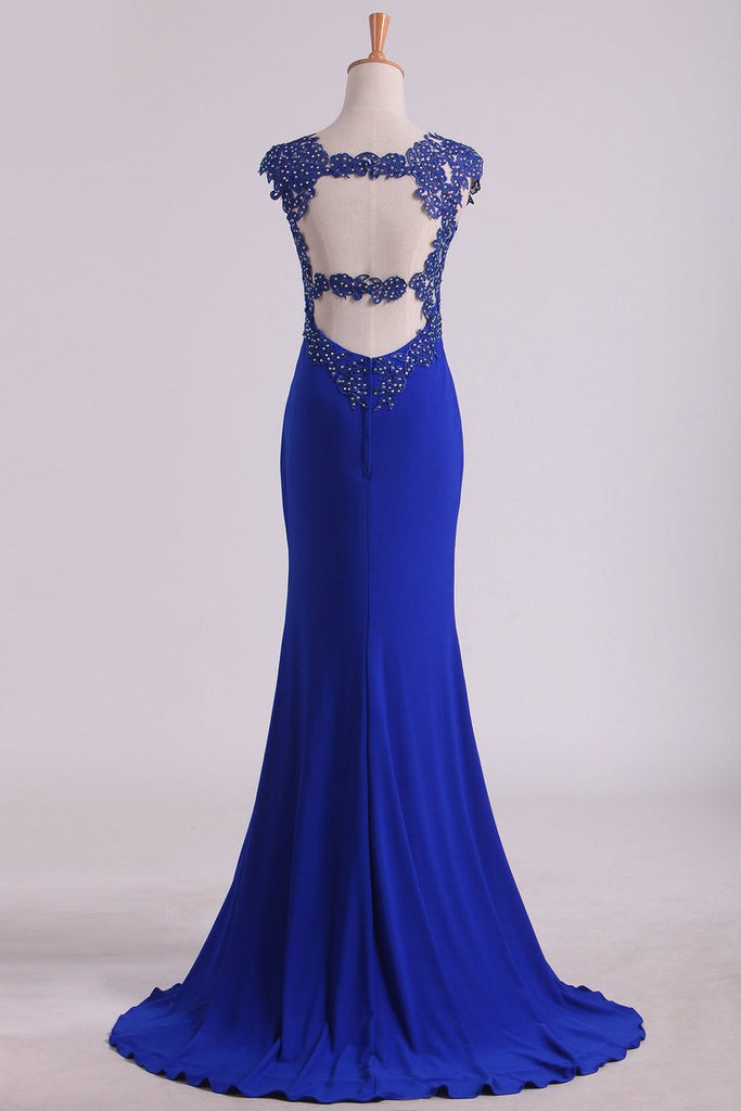 Prom Dresses Sheath Straps Spandex With Applique Open Back
