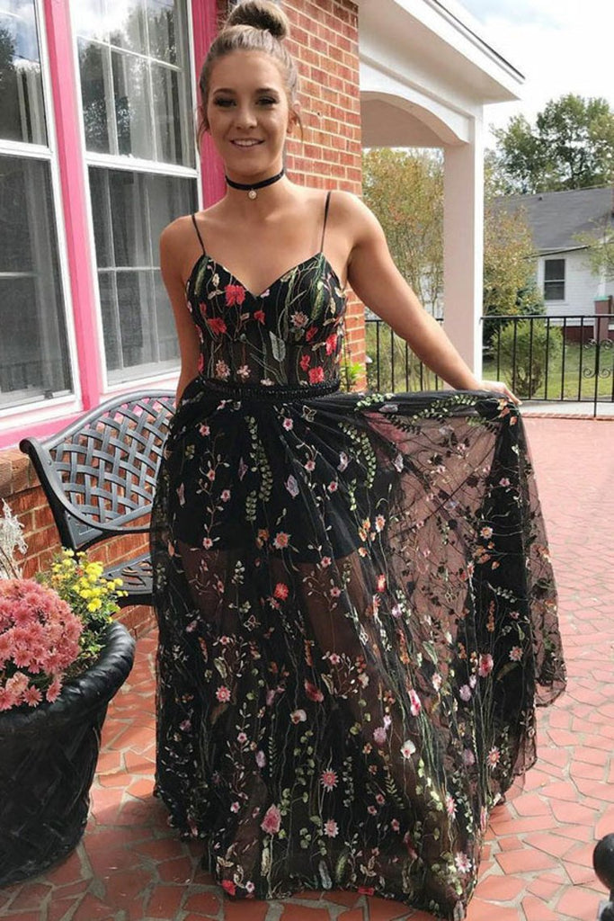 Spaghetti Straps Beautiful Long Embroidery Black Prom Dresses Party Dresses
