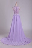 See-Through Scoop A Line Sweep Train Prom Dresses With Applique And Slit