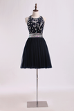 Halter Prom Dress Beaded Bodice A Line Tulle Short/Mini