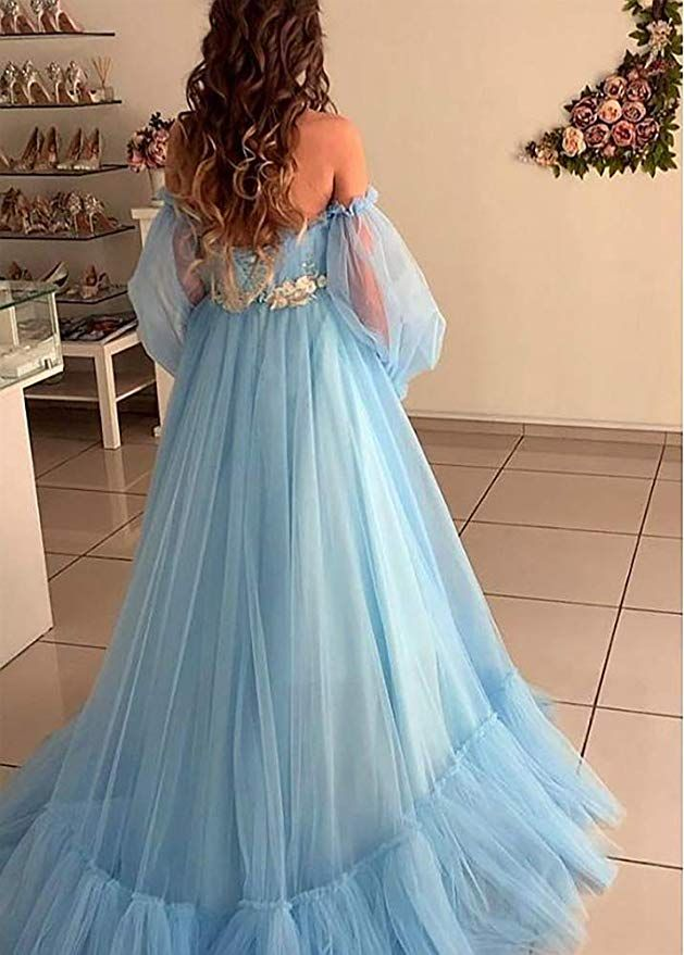 Blue Tulle Off the Shoulder Modern Prom Dresses Long Sleeve Quinceanera Dresses