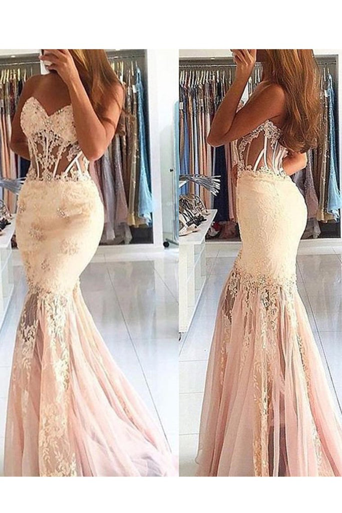 New Arrival Sweetheart Mermaid Prom Dresses With Applique Tulle