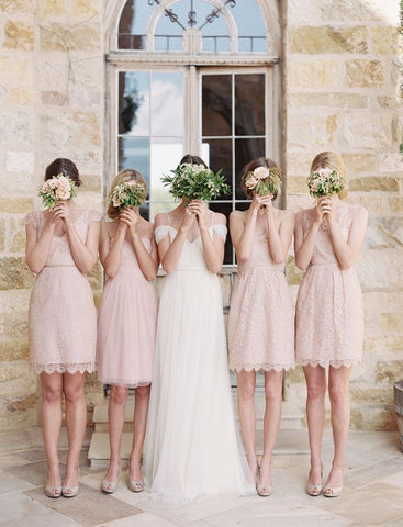 Mismatched Junior Short Lace Knee Length Blush Pink Bridesmaid Dresses