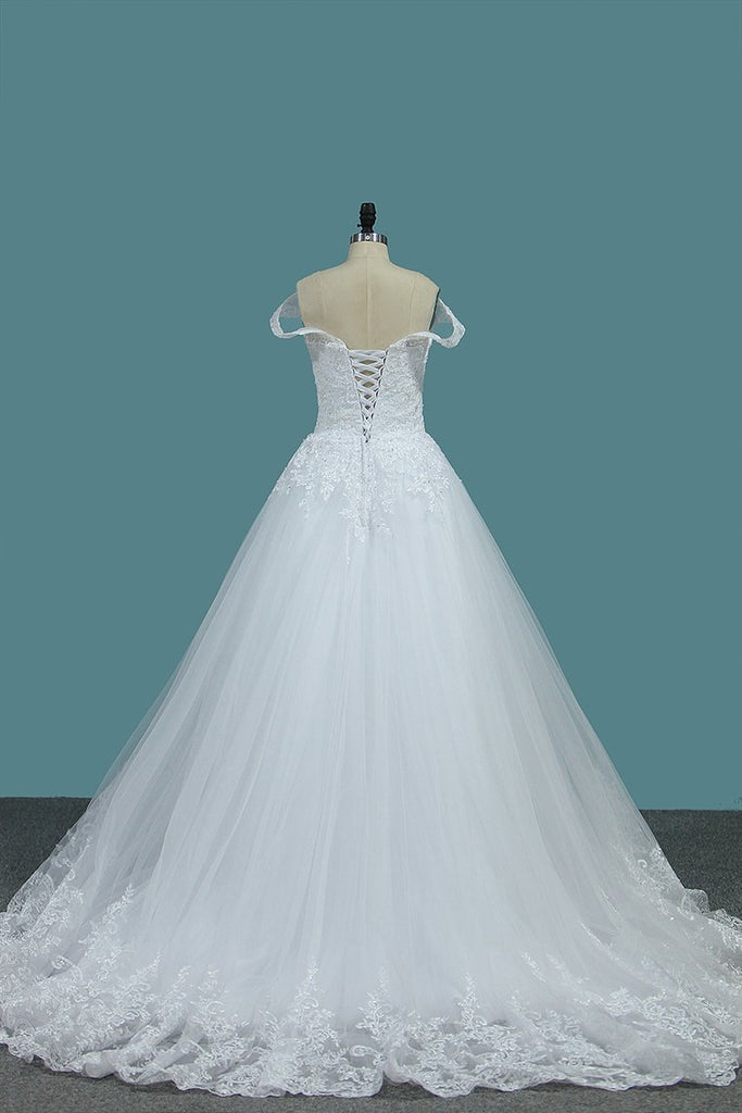 A Line Tulle Off The Shoulder Wedding Dresses With Applique Sweep Train