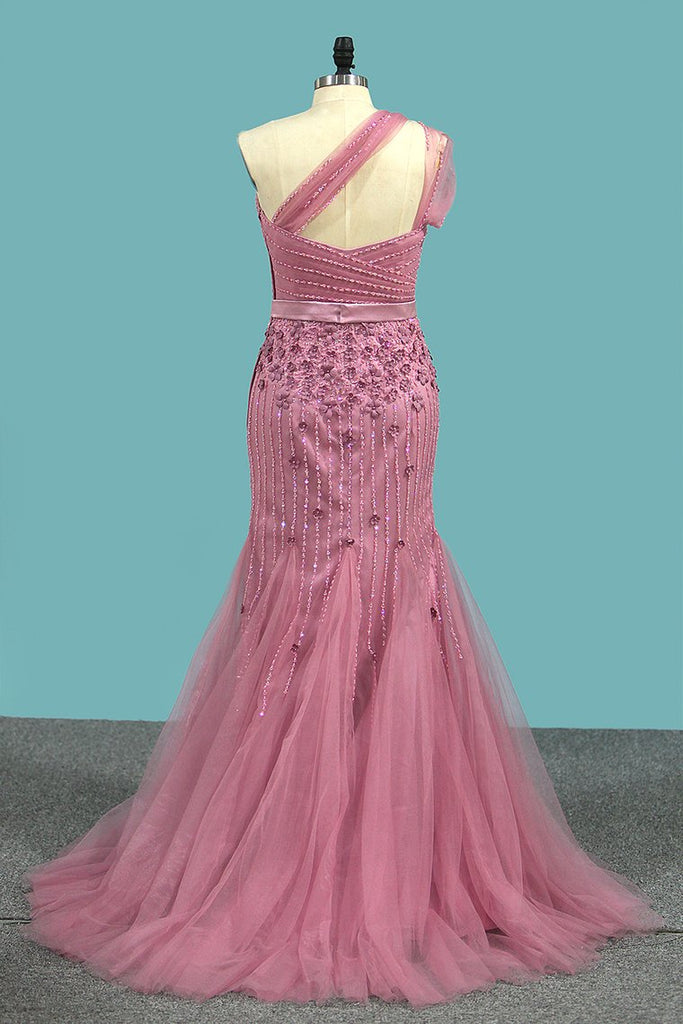 One Shoulder Prom Dresses Mermaid Tulle With Beads And Sash Sweep Train