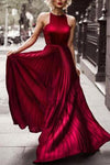 Burgundy Prom Dresses Pleated Evening Dresses Long Prom Dresses Prom Dresses JS713