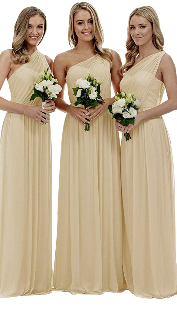 Long Mismatched A-Line One Shoulder Sleeveless Elegant Bridesmaid Dresses