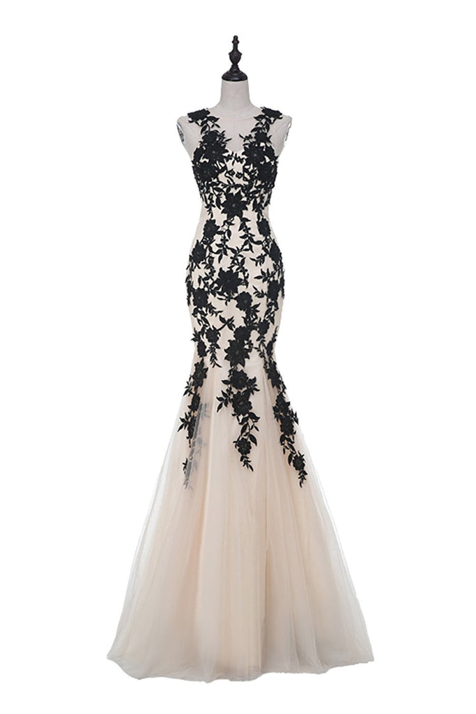 Champagne Sleeveless Mermaid Appliques Evening dressses