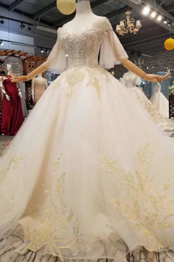 Ball Gown Wedding Dresses Off-The-Shoulder Floor-Length Lace Up Back