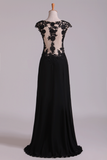 Scoop Prom Dresses A Line Chiffon With Applique