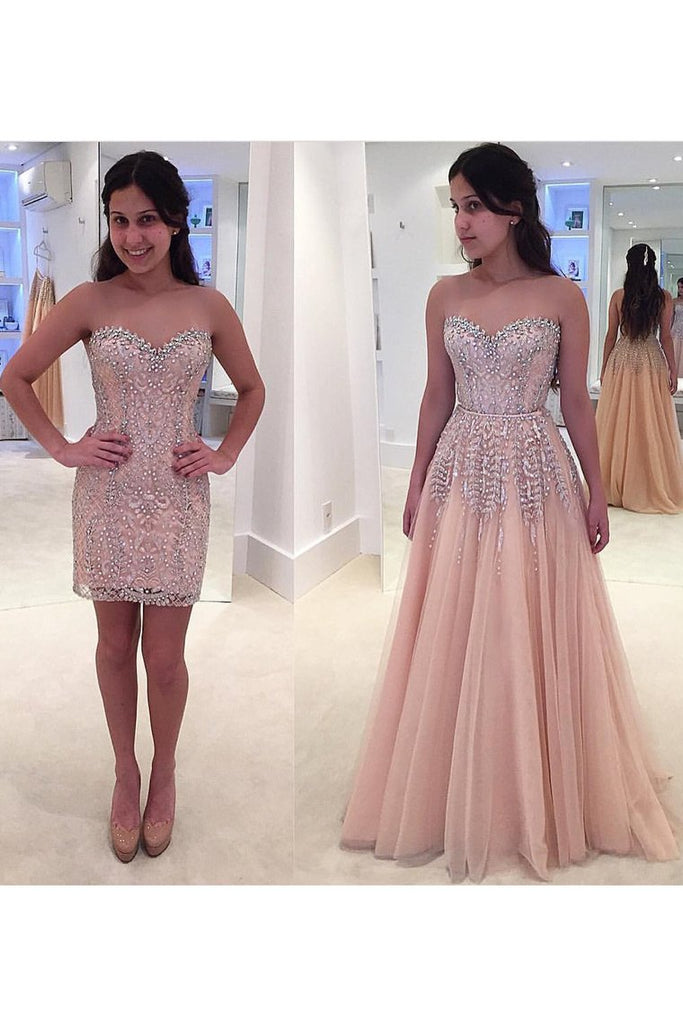 Sweetheart Beaded Bodice Tulle Prom Dresses Sweep Train Detachable