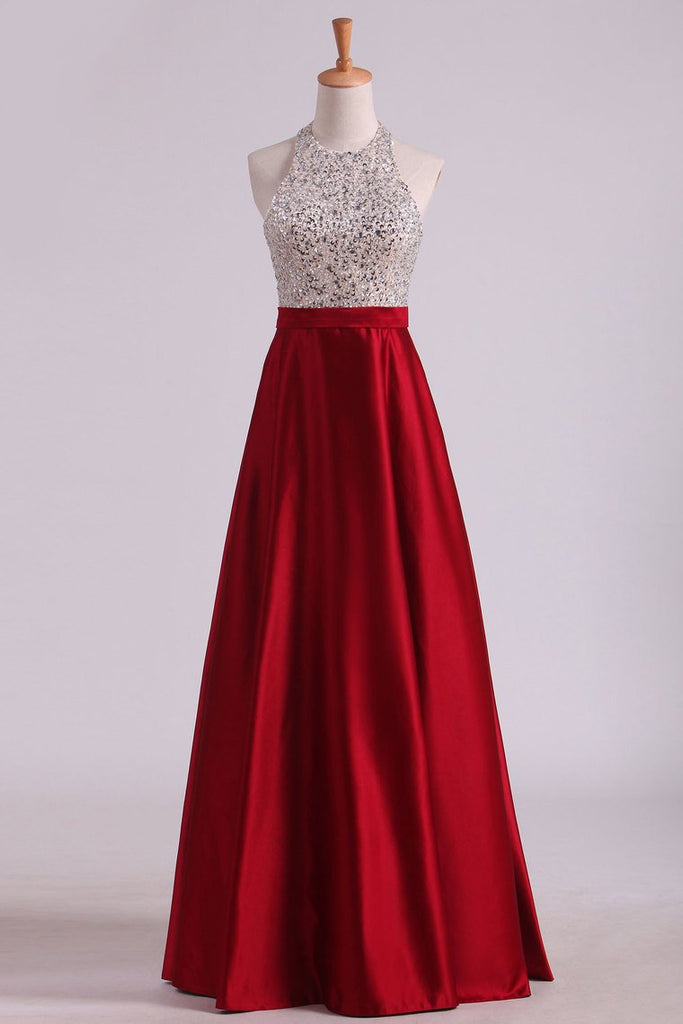 Open Back Halter Prom Dresses Satin With Beading Floor-Length A Line