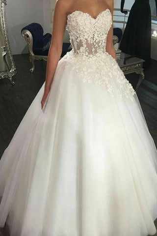 2019 New Arrival Sweetheart Wedding Dresses Tulle Ball Gown