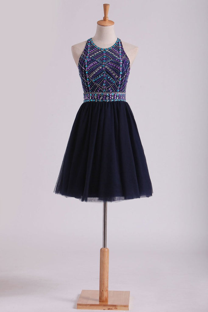 Open Back Halter Homecoming Dresses A-Line Short/Mini Beaded Bodice Tulle