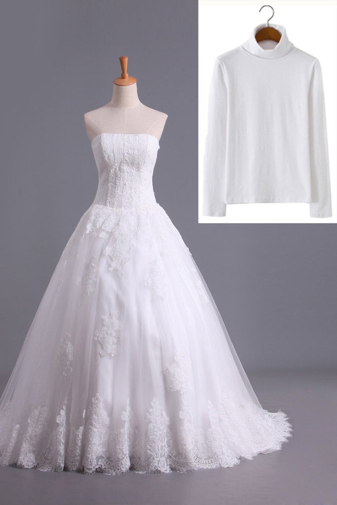 Muslim Wedding Dresses A Line High Neck Tulle With Applique Court Train