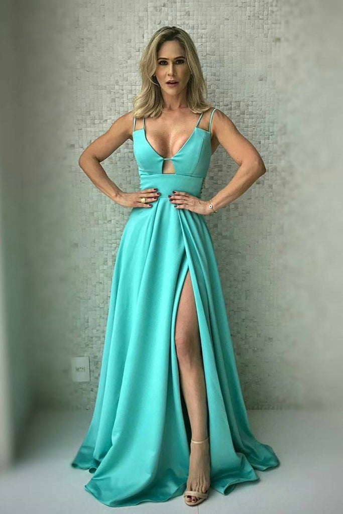 Spaghetti Straps Prom Dresses Satin A Line With Slit