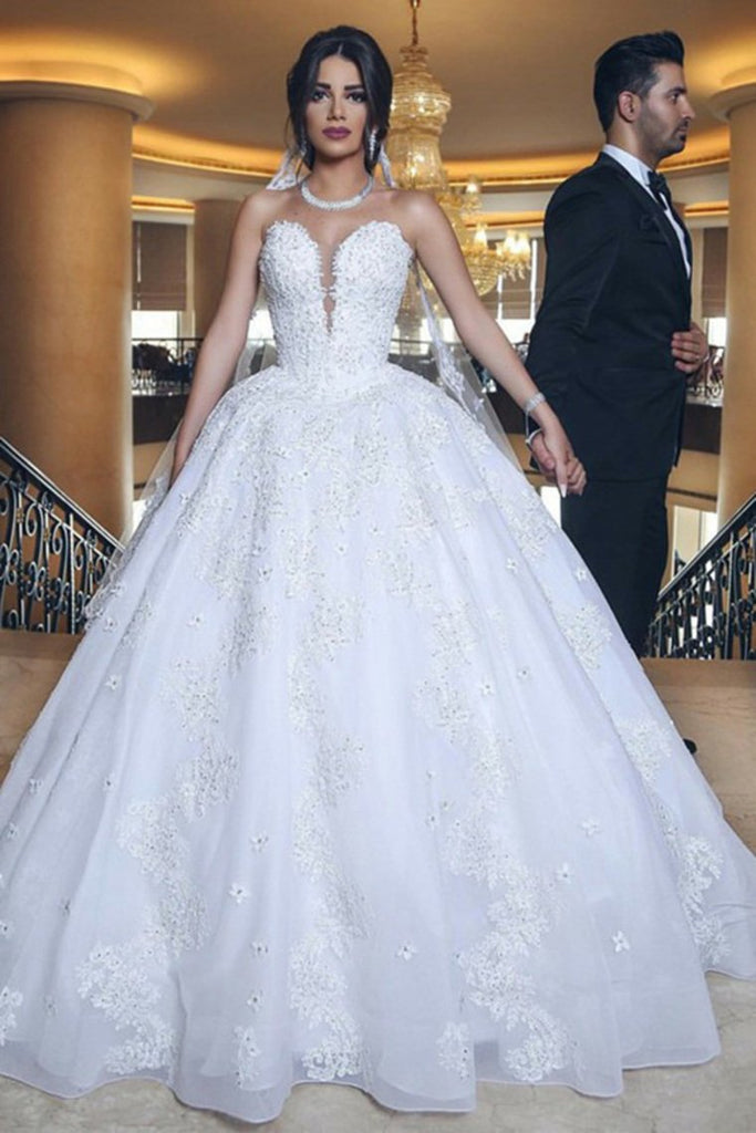 Strapless Long Ball Gowns Lace Beading Wedding Dresses Modest Bridal Gowns