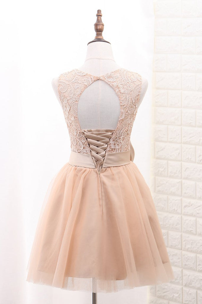 Tulle & Lace Homecoming Dresses Scoop A Line With Sash