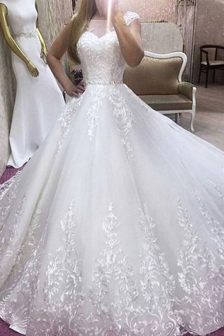 2019 New Arrival A-Line Wedding Dress Scoop Neck Tulle With Appliques And Belt
