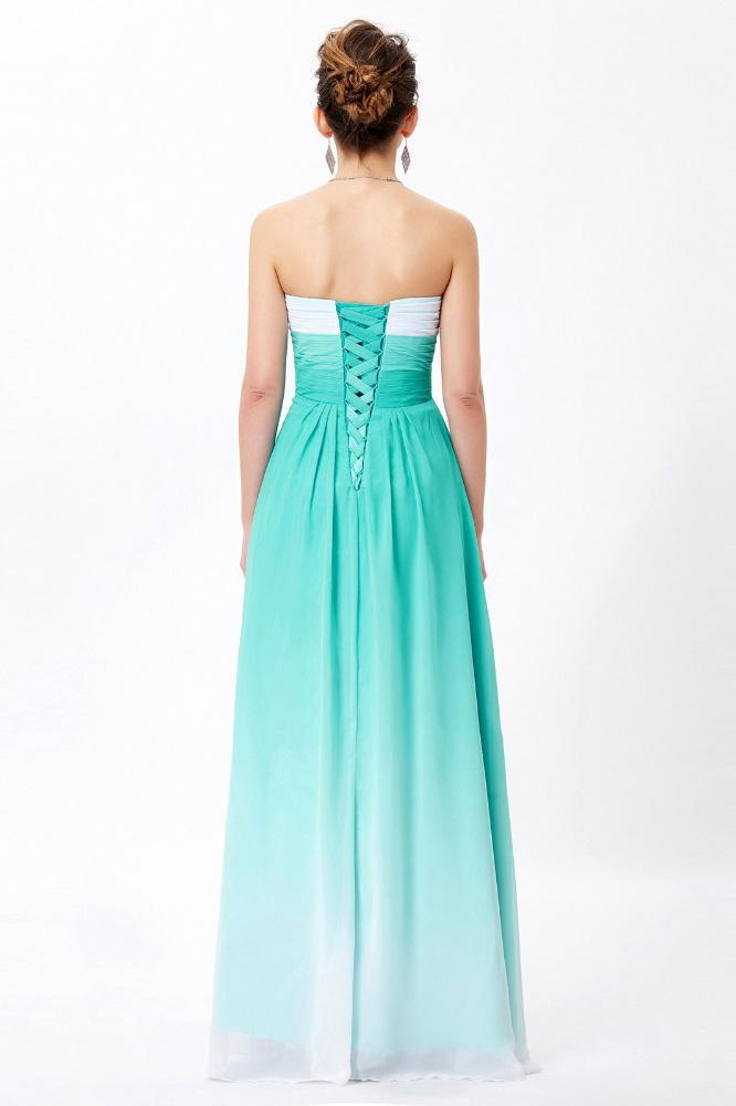 Simple Unique Ombre Green Spaghetti Straps Sweetheart A-Line Chiffon Prom Dresses UK JS362