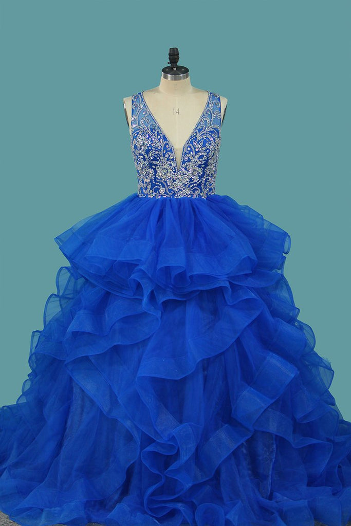 Tulle Quinceanera Dresses V Neck A Line With Beads Sweep Train
