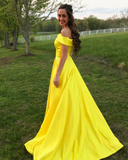 A Line Off the Shoulder Satin High Slit Yellow Prom Dresses Long Formal Dresses