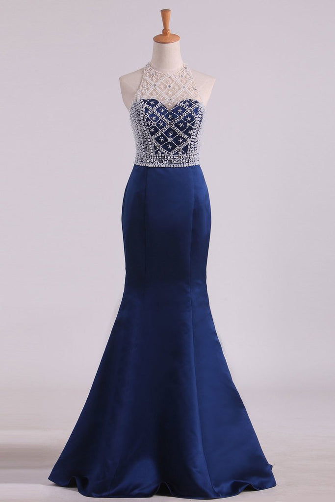 Sexy Open Back Halter  Mermaid Prom Dresses Satin With Beading Floor Length