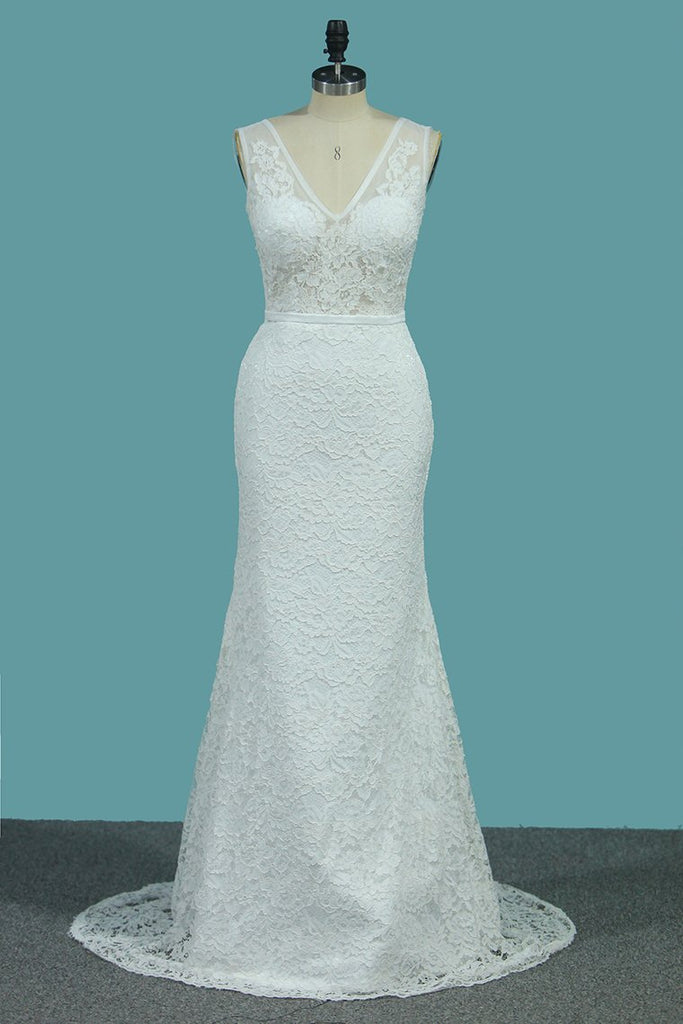 Lace V Neck Wedding Dresses Mermaid With Sash Court Train
