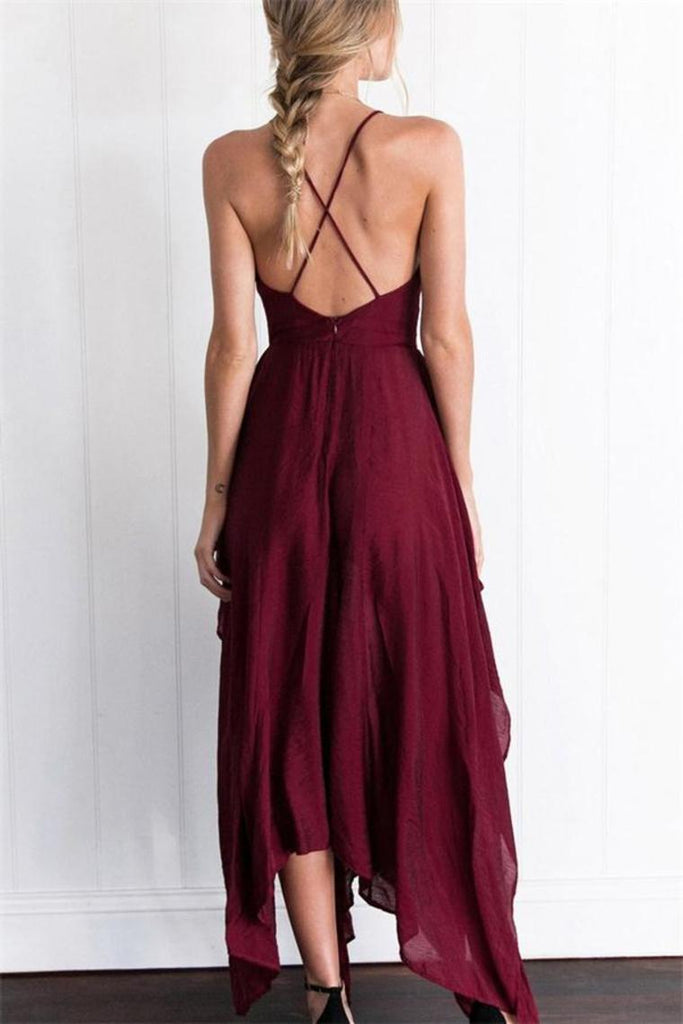 Flowy Spaghetti Straps V-Neck Open Back Simple Brugundy Prom Dresses