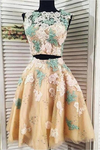 Two Pieces Lace Tulle Homecoming Dress Appliques