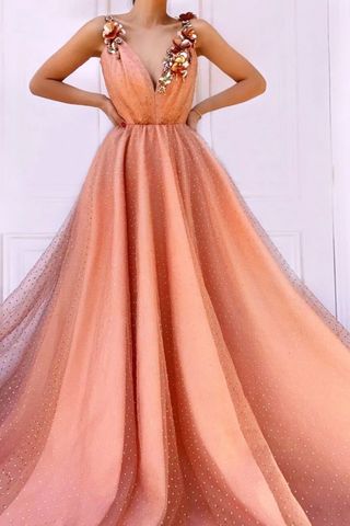 Charming Orange 3D Flowers Long Prom Dresses V-Neck Tulle Cheap Evening Dresses