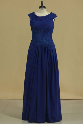 2019 Dark Royal Blue A Line Cowl Neck Prom Dresses Chiffon With Applique And Beads
