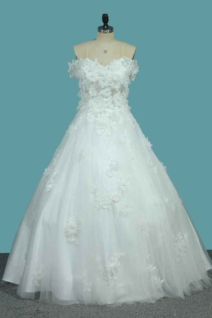 Off The Shoulder Tulle A Line Wedding Dresses With Applique And Handmade Flower