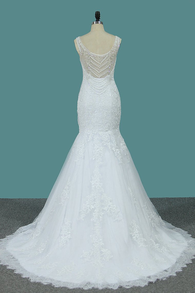 New Arrival Wedding Dresses Scoop Mermaid Tulle With Applique And Beads