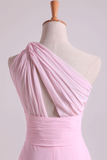 One Shoulder A Line Chiffon Bridesmaid Dresses With Ruffles Pearl Pink