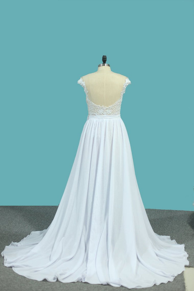 Chiffon A Line Scoop Wedding Dresses With Applique And Slit Sweep Train