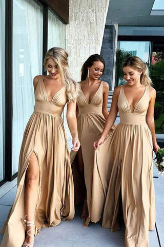 A Line V Neck Ruffles Slit Bridesmaid Dresses Long Cheap Prom Dresses