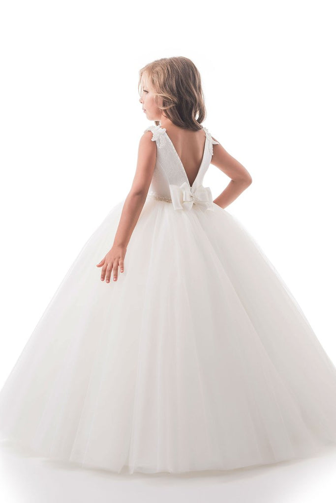 Open Back Scoop Flower Girl Dresses Ball Gown Tulle & Lace Floor Length