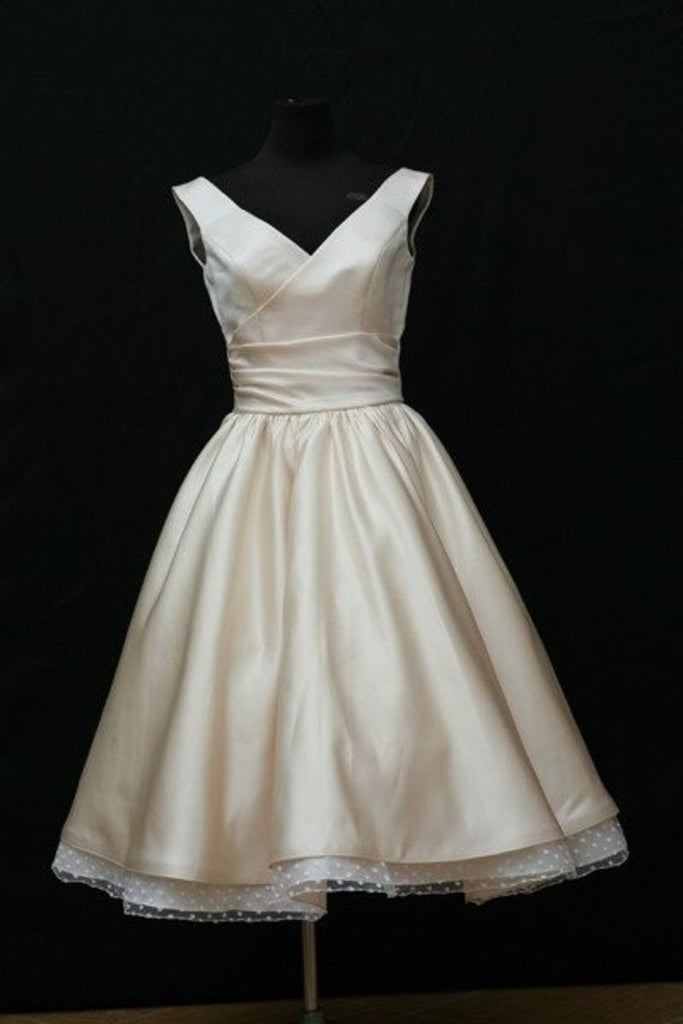 V Neck Satin With Ruffles A Line Homecoming Dresses