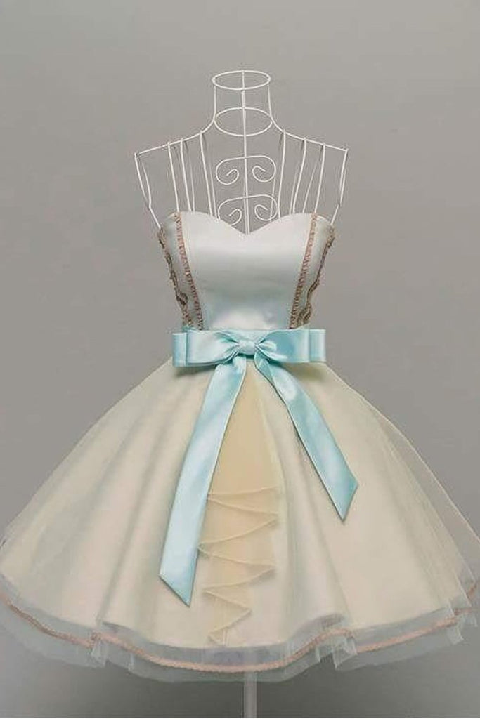 Homecoming Dresses A Line Sweetheart Tulle With Bow Knot