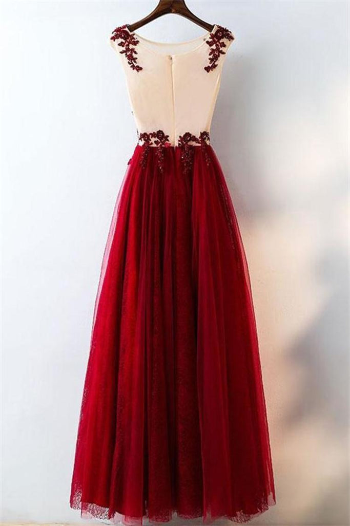 Elegant Burgundy A-Line Lace Tulle Prom Dresses Beautiful Party Dresses