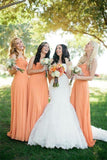A-Line Sweetheart Long Chiffon Elegant Bridesmaid Dresses Orange Bridesmaid Gowns