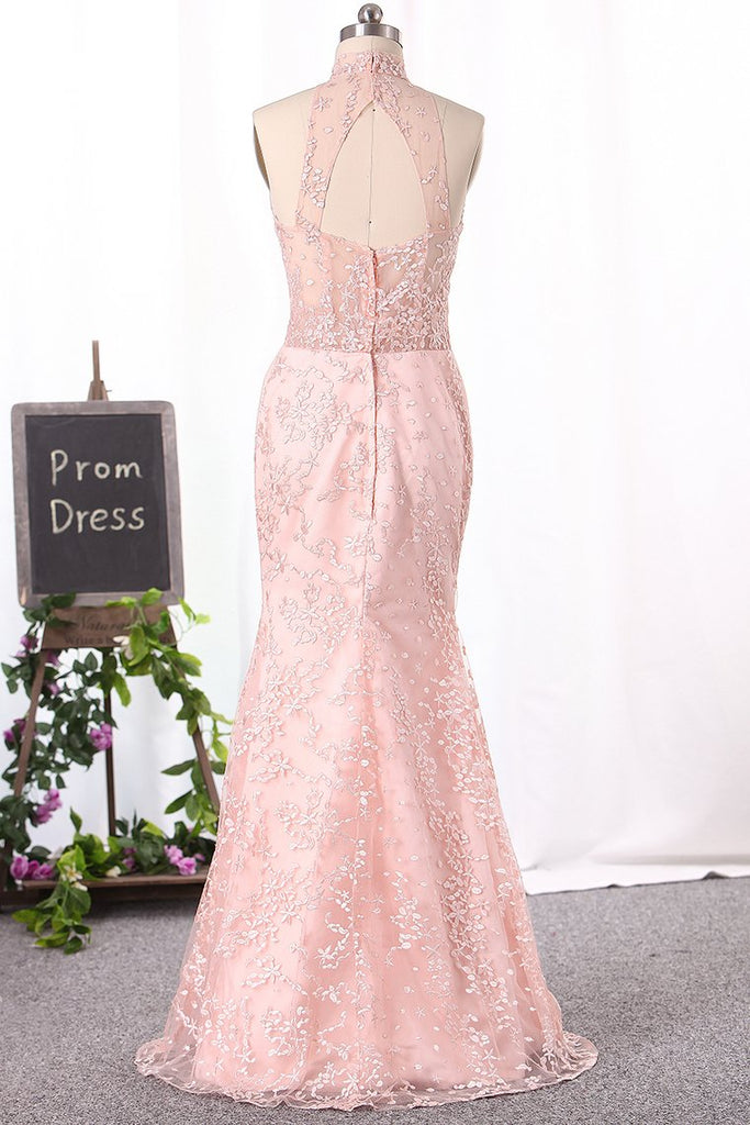 Gorgeous High Neck Lace Prom Dresses Floor-Length