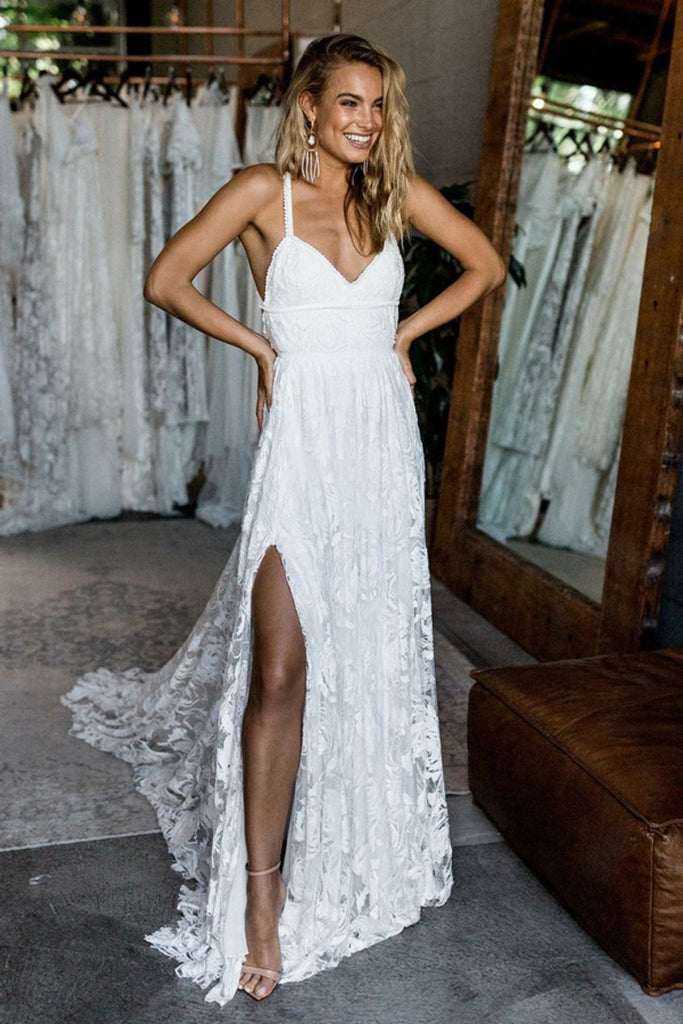 Spaghetti Straps Ivory Lace Open Back Long Wedding Dresses Elegant Beach Wedding Dresses