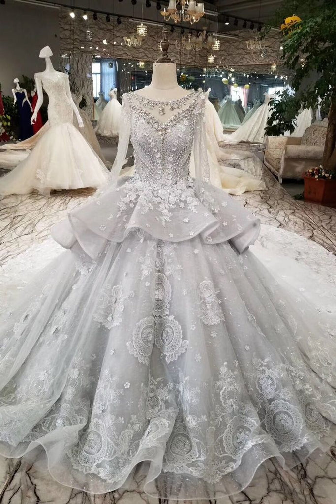 Silver Wedding Dresses Ball Gown Long Sleeves Royal Train Top Quality Lace With Applique & Beading