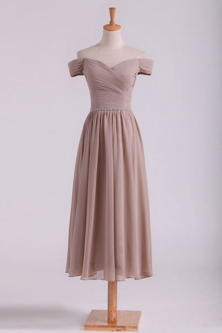2019 Off The Shoulder Bridesmaid Dresses A-Line Tea Length Chiffon
