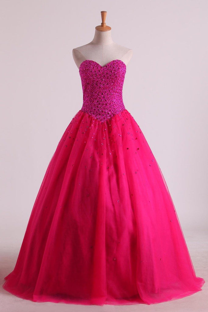 Sweetheart Quinceanera Dresses Floor-Length Tulle Ball Gown Lace Up