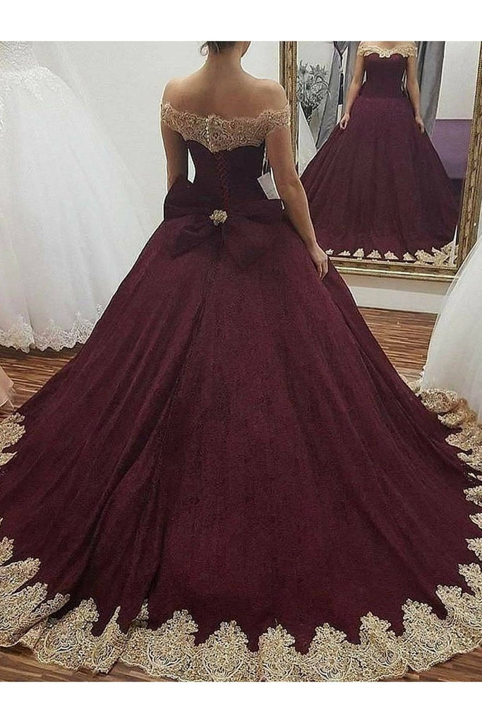 Off The Shoulder Ball Gown Quinceanera Dresses Tulle With Applique Bow Knot