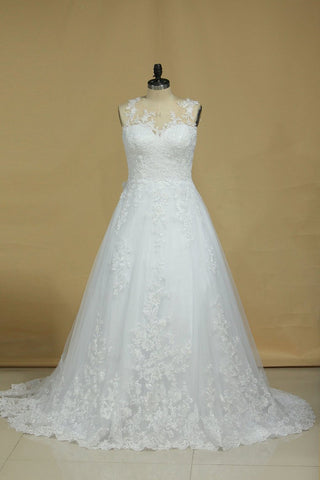 Wedding Dresses Scoop Tulle With Applique Court Train A Line